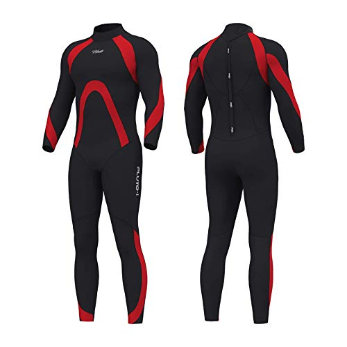 Hevto Wetsuits Men Pluto 3mm Neoprene Full Scuba Diving Suits Surfing Swimming for Water Sports (P-Men2 Red, XL)
