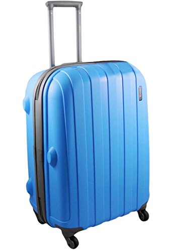 Luggage X - 77cm (30') Hard Sided Blue Polypropylene Lightweight Trolley Suitcase