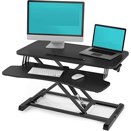 Hoogte Verstelbaar 32 Inch Staande Bureauconverter Dubbele Monitor Werkstation Handgrepen Zitstand Dubbele Monitor Laptopverhoger Desktop Zitstand Bureau Past in Kasten Hoekbanken
