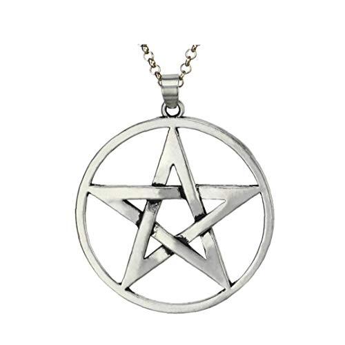 Aardich Los Hombres De Acero Inoxidable Collar De Plata del Tono Joyería Pentagram Estrella Colgante del Cuello La Cadena Exquisita