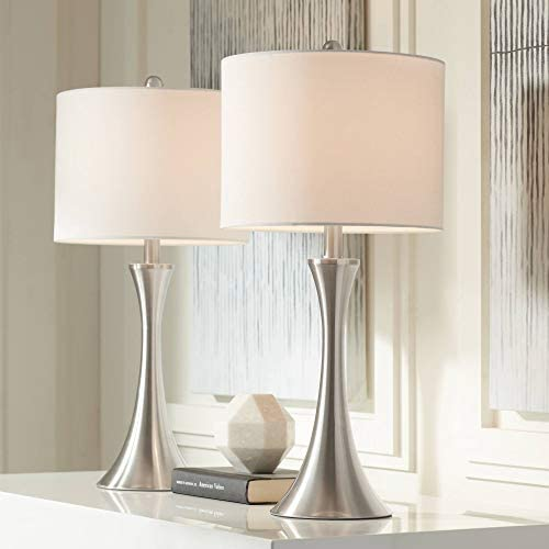 Gerson Modern Contemporary Table Lamps Set of 2 LED Dimmable Curved Brushed Nickel Metal White product image