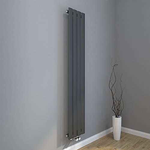 Design Flach Heizkörper 1600x308mm Antrazit Paneelheizkörper Vertikal Mittelanschluss Einlagig