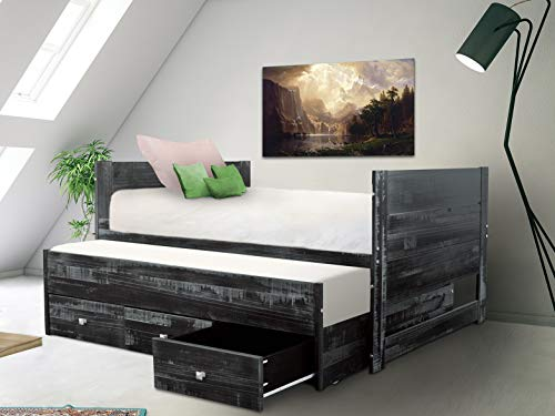 Bedz King All in One Bed with Twin Trundle and 3 Built in Drawers, Weathered Black