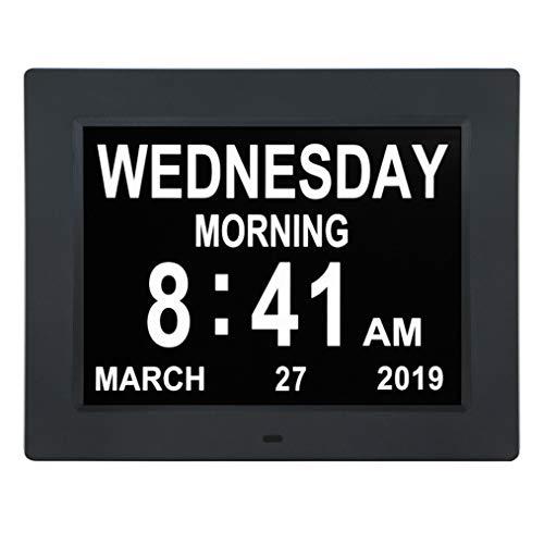 Reloj de día con calendario digital de 10pulgadas, extragrande, no abreviado, 5opciones de alarma, perfecto para personas mayores y con problemas de visión
