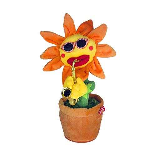 Toyvian Tanzende Singende Blume mit Saxophon Musik Plüsch Bezaubernde Sonnenblume Lustige Plüschtiere Elektrisches Spielzeug für Kinder Erwachsene Musikspielzeug