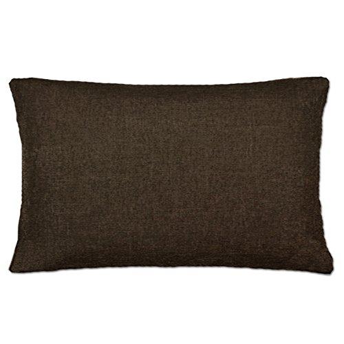 Jemidi - Funda de cojín, 3 tamaños, con aspecto de lino, poliéster, marrón oscuro, 40 cm x 60 cm