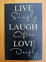 ライブ笑い愛ヴィンテージスタイルメタルサインアイアン絵画屋内 & 屋外ホームバーコーヒーキッチン壁の装飾 20 × 30 センチメートル