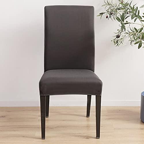 Fodera per sedia, venduta in 2, 4 o 6 pezzi, tessuto elasticizzato, tinta unita elasticizzata, moderna, ristorante, matrimonio, banchetto 4 pezzi grigio scuro