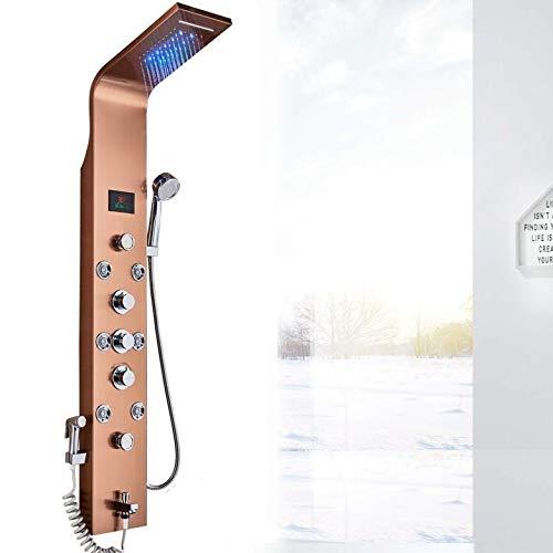 LED Luxus Duschpaneel elegant aus rostfreiem Edelstahl mit Bidet Funktion, Wanneneinlauf, Temperaturanzeige und 8 Massagedüsen Farbe: Rose Golden
