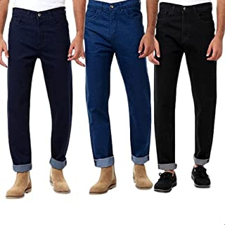 Andora Side-Pocket Front-Button Straight Cut Jeans for Men - 3 Pieces - Multi Color, 36
