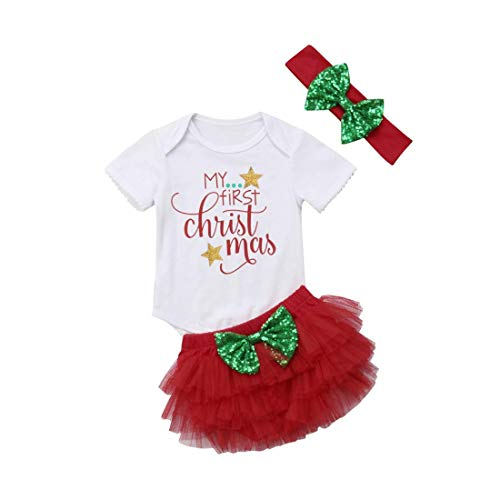Infant Baby Girl Christmas Outfit Romper+Tutu Skirt Shorts+Headband Clothes Set (White+Red, 6-12 Months)