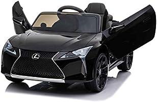 Indalchess Coche ELÉCTRICO para NIÑOS Lexus 12V, Color Negro, Asiento DE Cuero, Mando RC Parental