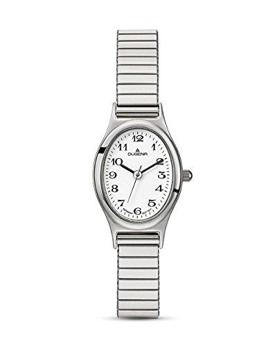 Dugena Damen Armbanduhr Vintage Comfort Edelstahl 22x235mm silber/weiß