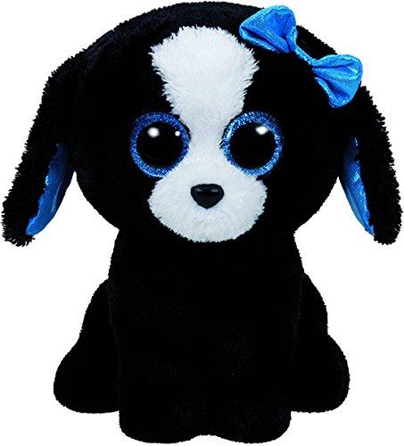 Carletto Ty 37191 Tracey Ty 37191-Tracey, Hund mit Glitzeraugen, Beanie Boos, schwarz, 15 cm