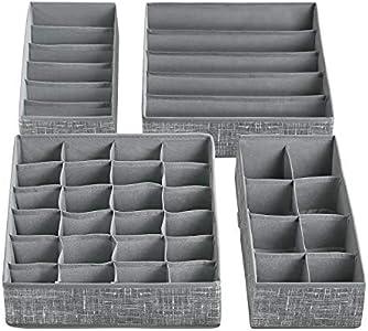 SONGMICS Organizador para Cajones con Compartimentos, Caja de Almacenaje Plegable, Organizador de Armario para Ropa Interior, Calcetines, Set de 4 Piezas, Gris Moteado RYUS04LG