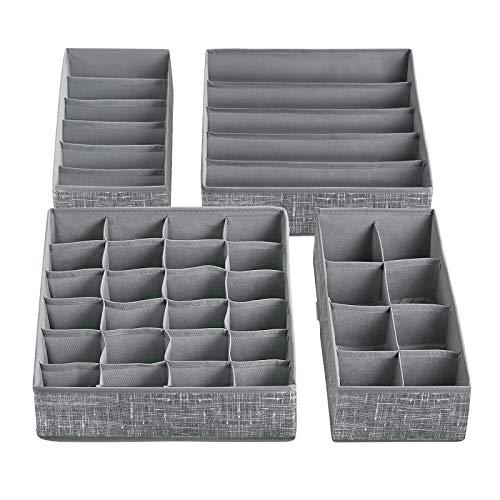SONGMICS Aufbewahrungsbox für Unterwäsche, Schubladen-Organizer, faltbar, Ordnungssystem für Kleiderschrank, für BHS, Socken, Krawatten, Faltbox, Stoffbox, 4er Set, grau meliert RYUS04LG