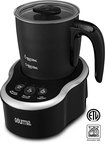 Gourmia GMF235 Cordless Electric Milk Frother & Heater, 3 Touch Button Control for Hot/Cold Extra Foamy Froth or Heating Milk, Magnetic Whip, Dishwasher Safe