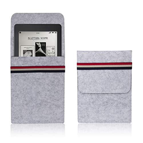 "Dteck 6"" eBook Readers Sleeves- Kindle Sleeve Case Protective Felt Case for Kindle Paperwhite/Kindle Paperwhite 10th, 2018/Kindle Touch/Kindle Voyage Protective Felt Pouch Bag, Light Gray"