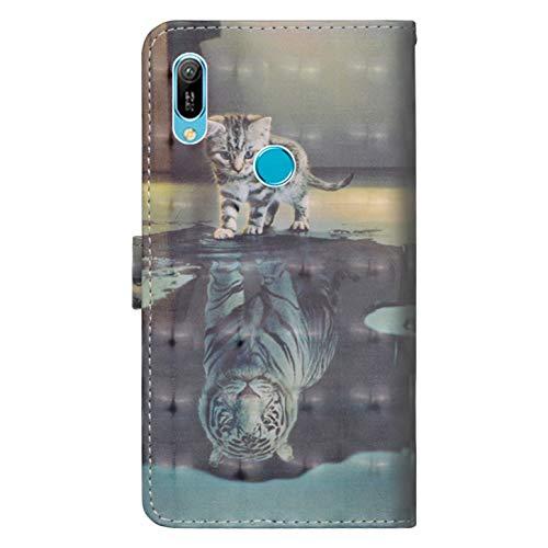Handyhülle für Huawei Y6 2019/Y6 Pro 2019/Honor Play 8A Hülle, PU Leder Flip Brieftasche Schutzhülle Tasche Case, mit Kartenfach und Standfunktion für Huawei Y6 2019/Y6 Pro 2019/Honor Play 8A Cover - 2