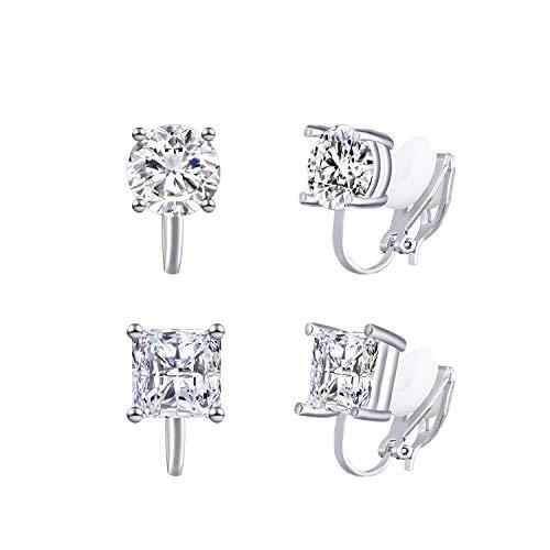 QUKE 2 Pairs Clip On Stud Earrings 8MM Cubic Zirconia Crystal Clip On Stud Non Pierced Earrings For Women Girls