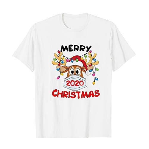 Dasongff T-shirt à manches courtes pour femme avec imprimé de Noël - Pour fête - Col rond - Manches courtes - Décontracté - GOOD BYE 2020 HELLO 2021