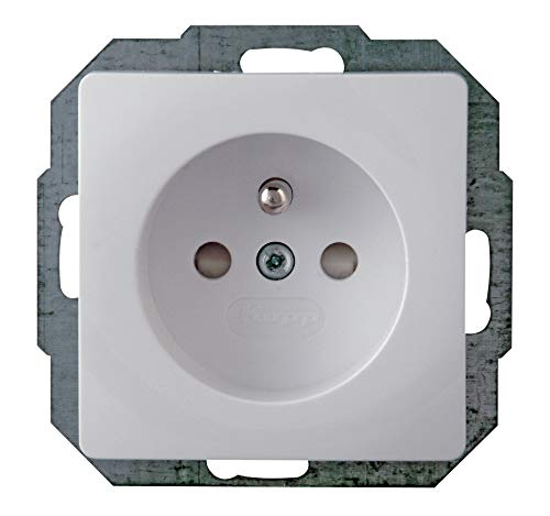 Kopp 921102083 Paris Mitten-Schutzkontakt-Steckdose 1-Fach mit erhöhtem Berührungsschutz, 250 V, arktis-weiß