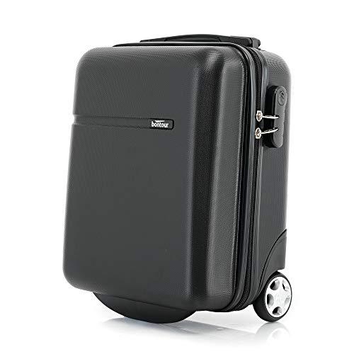 Bontour CabinOne WizzAir Handgepäck 40x30x20 cm 2 Rollen Trolley Unter Sitz Bordgepäck Koffer (Schwarz)