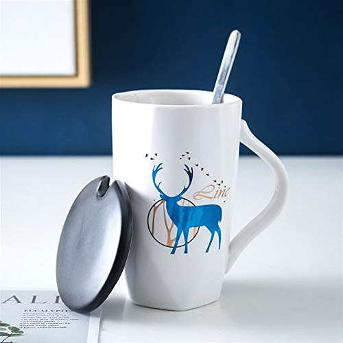 WLLL Cappuccino Cups, 13.6oz (400 ml) Steengoed Mokken Koppen met Printed decoratieve pretberichten Ideaal for warme dranken, Afternoon Tea, koffie, latte, warme chocolademelk en Meer