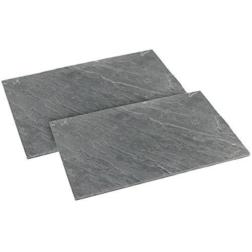 com-four® 2X Servierplatte, Serviertablett aus natürlichem Schiefer, 30 x 20 cm