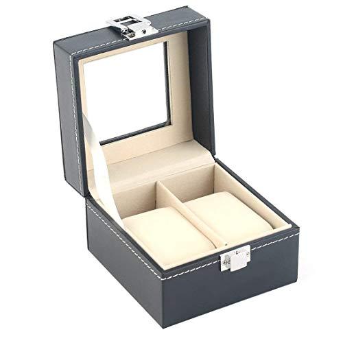 SMEJS Uhr-Kasten-Halter-2 Grid PU-Leder Uhren Schmuck Display-Boxen Aufbewahrungskoffer Schmuck Dekoration Transparent Window Schmuck Display-Box for Männer oder Frauen