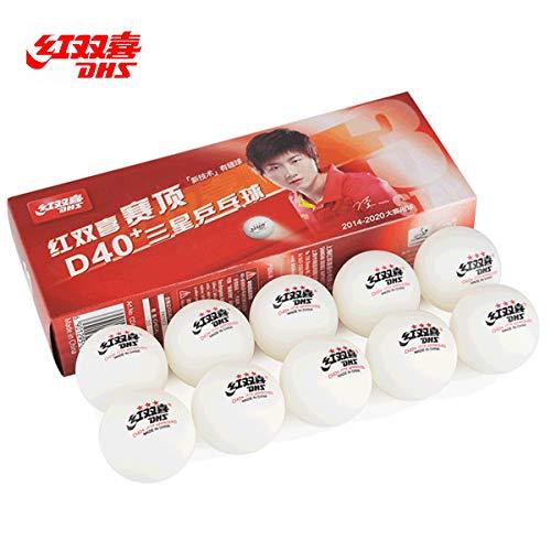 DHS Tischtennisbälle, 3 Sterne, Weiß, professionelles D40+ Ping Pong Bälle, 10 Stück, ideal für Wettkampf, ITTF zugelassene Ping-Pong-Bälle, tolle Sprungkraft, Spin