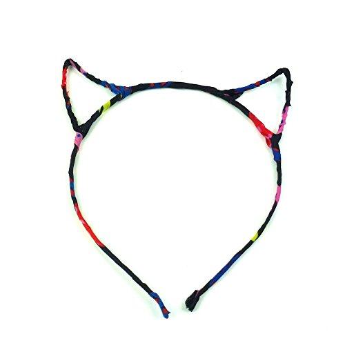 rougecaramel - Accessoires cheveux - Serre tête oreille de chat - noir multicolore