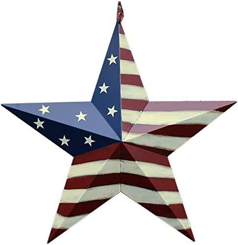 Metal Barn Star, American Patriotic Star Wall Decoration Outdoor Indoor Hanging Wall Decor Star Ornament 22 Inch (American Barn Star-D)