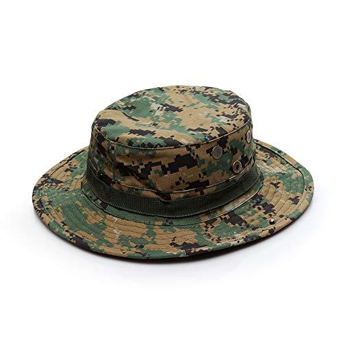 Selva Militar Camuflaje ala Ancha Boonie Hat, Safari Al Aire Libre Sun Hat para Deportes Pesca Playa CS Juego Táctico Plegable Unisex Cap