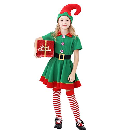 Haplws Conjunto de Disfraz de Elfo navideo, Disfraz de Elfo Infantil Sombrero en Rojo y Verde para Mujeres y Hombres, Fiesta de Carnaval de Halloween