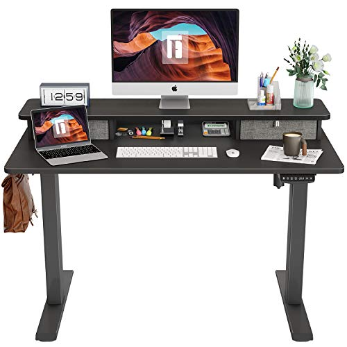 FEZIBO Height Adjustable Electric Standing Desk with Double Drawer, 48 x 24 Inch Stand Up Table with Storage Shelf, Sit Stand Desk with Splice Board, Black Frame/Bamboo Top