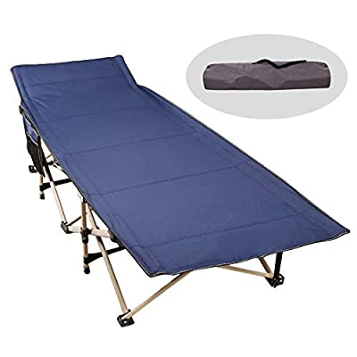 CAMPMAX Camping Cots for Adults Most Comfortable, Double Layer Oxford Sturdy Folding Sleeping Cots for Outdoor Travel Home Use, Portable with Carry Bag, Blue and Grey