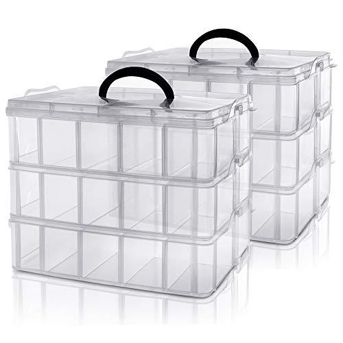 Kurtzy Caja Almacenamiento Plastico 3 Niveles (Pack de 2) - Ranuras de Compartimentos Ajustables - Caja Organizadora Plastico Transparente - Máximo 30 Compartimentos – Guardar Juguetes Joyas, Cuentas
