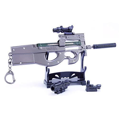 Mini 1/6 Escala Terminator P90 Metralleta Cosplay Arma De Metal Artesanía Modelo Militar Juguete Llavero Regalo