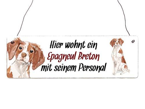 Interluxe Holzschild - Hier wohnt EIN Epagneul Breton - Türschild, Warnschild oder Hundeschild als Geschenk für Menschen mit Hund