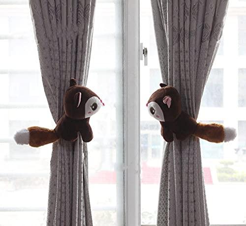 ZXMDP Un par de Clip de Correa de Cortina de Ardilla de Dibujos Animados, Accesorios de Gancho de Cortina, decoración de Cortina, Soporte de Cortina,Regalo, marrón