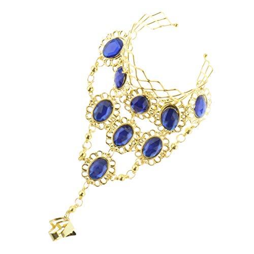 F Fityle Damen Bauchtanz Kostüm Armband Armreif Armschmuck mit Ringe - Blau