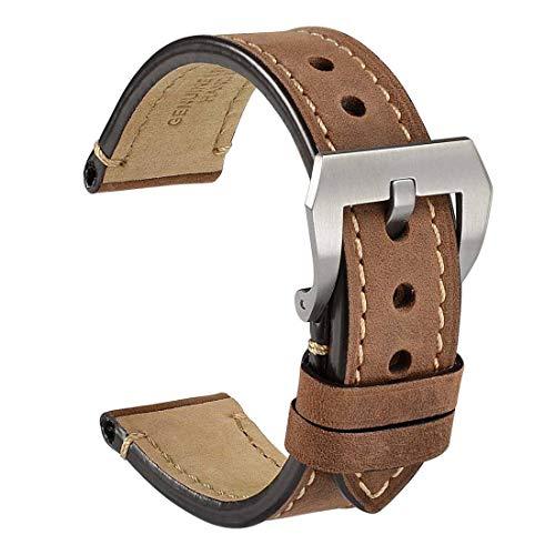 WOCCI Correa Reloj Vintage de Cuero Genuino, Correa de 22mm, Ideal para Hombres (Marrón Oscuro)