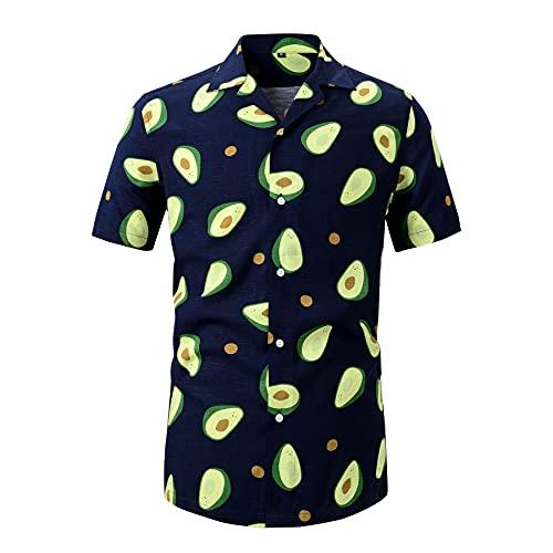 WXDSNH Camisas Hombre Manga Corta Hawaiana Completo Algodón Impreso Hombres Casual Botones Tops