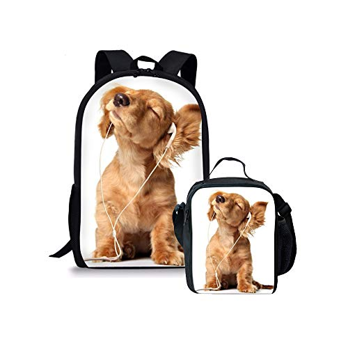 Cute Dog Print Backpack with Lunch Bag for Kids Boys Girls Teens Cool School Book Bag Set
