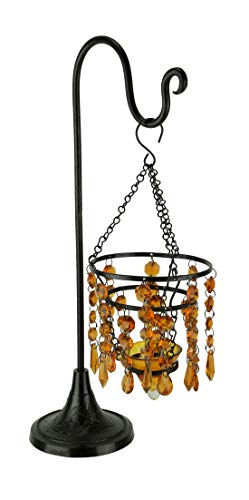Glass Beaded Chandelier Votive Candle Holder On Stand Table Centerpiece, Amber