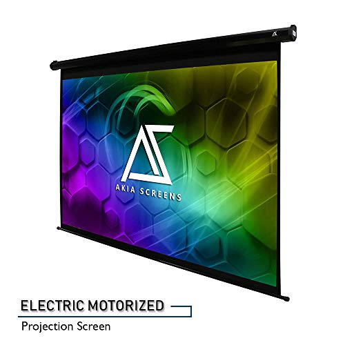 Akia Screens 104' Motorized Electric Projector Projection Screen, 4:3, 8K 4K Ultra HD 3D Ready Wall/Ceiling Mounted, 12V Trigger, Remote, Manufacturer Warranty with Chat Service, AK-MOTORIZE104V1