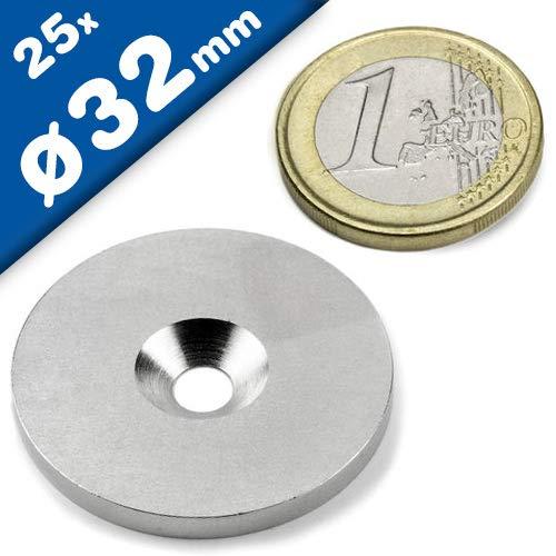 25 Metallscheiben mit Bohrung & Senkung - Ø32mm x 3mm - aus Stahl (DC01) verzinkt - Metallplättchen rund mit Loch (Senkbohrung) - Gegenstück/Haftgrund für Magnete (ferromagnetisch), Menge: 25 Stück