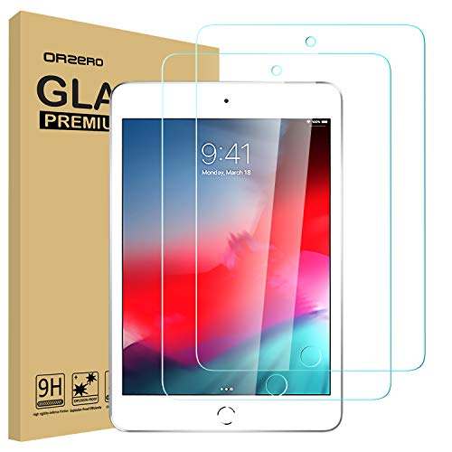 (2 Pack) Orzero Compatible for iPad Mini 5 Tempered Glass Screen Protector, 9 Hardness HD Clear Anti-Scratch Bubble-Free Full-Coverage Easy Install (2.5D Arc Edges) (Lifetime Replacement)
