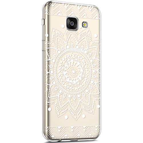 Surakey Cover Samsung Galaxy A3 2016,Custodia Silicone Trasparente con Disegni Fiore Ciliegio Cartoon Ultra Sottile Leggero Protettiva Skin Crystal Clear Cover per Galaxy A3 2016,Mandala Bianco